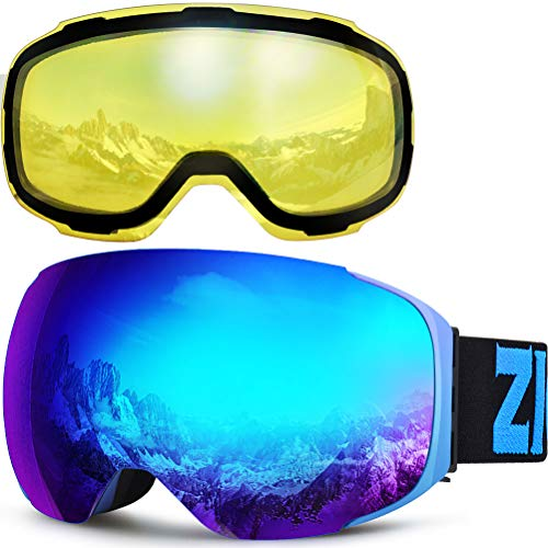 ZIONOR X3 Ski Snowboard Snow Goggles with Magnet Lens Anti-Fog UV Protection Spherial Design for Men Women Adult (Blue+YellowLens)