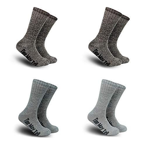 Time May Tell Mens Merino Wool Hiking Cushion Socks Pack (2Brown,Light Grey,Dark Grey(4 pairs),US Size 9.5~13)