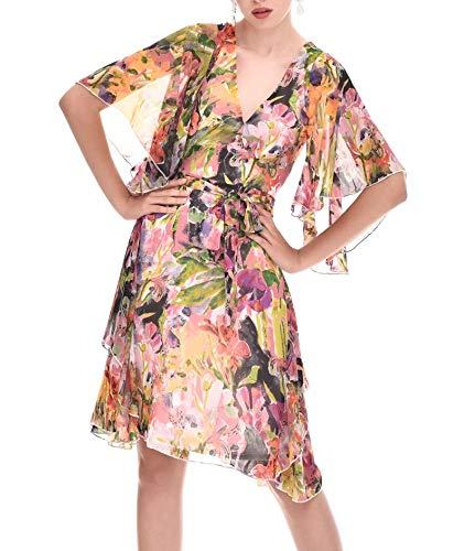 TONALA | Vestido Mujer Fiesta Boda Evento Verano Midi Estampado Manga Corta...