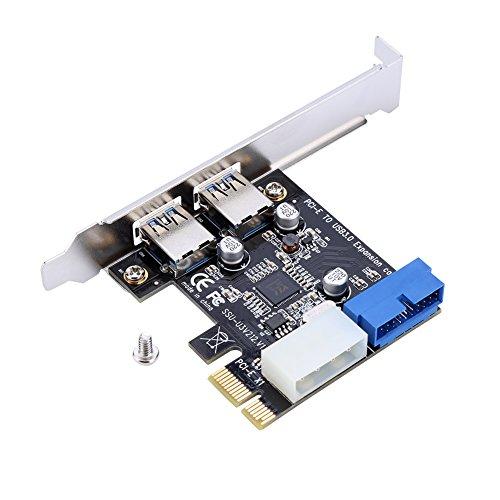 Richer-R USB 3.0 Expresskarte, PCI-E zu USB3.0 Erweiterungskarten Adapter mit 19PIN-Schnittstelle,Highspeed 2 Ports USB 3.0 Karte PCIe Express Schnittstellenkarte mit Windows XP 32/64 Windows 7 usw.