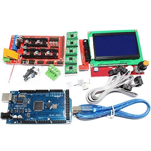 TOOGOO 1Pz Mega 2560 R3 Ch340 1Pz Ramps 1.4 Controller 5Pz A4988 Stepper Driver Module 1Pz 12864 Controller per Kit Stampante 3D