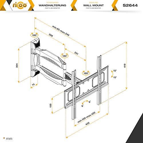 RICOO TV Wand-Halter Wand-Halterung Schwenkbar Neigbar S2644 Curved LED LCD OLED 4K Fernseh-Halterung Flach für Flachbild-Fernseher Bildschirm Schwenk-Arm Wohnwand Moebel VESA | 200 | 400 | mm - 7