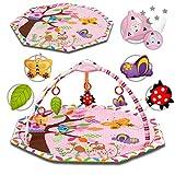 KIDWELL NIBA Interaktive Baby-Matte | Erlebnisdecke 104 cm lang x 44 cm hoch | Baby Krabbeldecke mit Spieluhr & Spielbogen & Farbigen Lichter | Spieldecke für Spiel & Spaß | ab Geburt