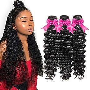 10A Deep Wave Human Hair Bundles 100% Virgin Brazilian Hair One Bundle Wet and Wavy Hair Human Bundle Unprocessed Remy Curly Hair Bundle