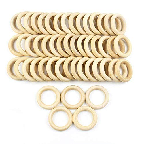 "JPSOR 50 Pcs 2.2"" Natural Wood Rings Circles Unfinished Wood for DIY Pendant Connectors Jewelry Making"