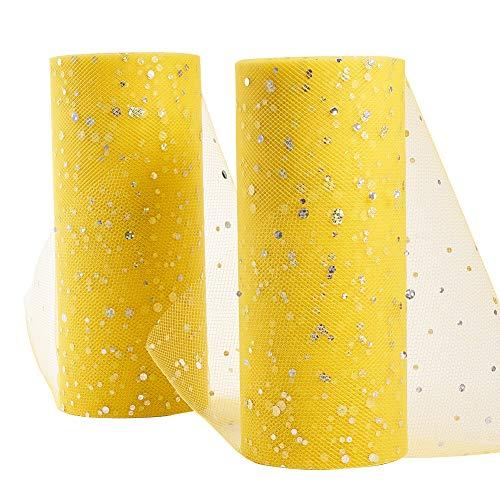 BENECREAT 6 inch 50 yards glitter pailletten tule roll netting stof tule voor bruiloft decoratie, tutu rokken naaien crafting (25yards/rol) geel