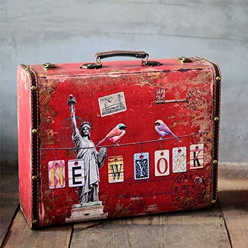 Dfghbn - Maleta vintage de piel grande, maleta de viaje, decoración interior, fiestas, bodas, decoración de carteles artesanales, almacenamiento de maleta (color: Dark Red, tamaño: 40 x 30 x 14 cm)