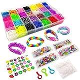 11950+ Colorful Bands Mega Refill Loom Kit Rubber Band Bracelet Kit 10500 Premium Crazy Loom Rubber Bands, 30 Charms, 5 Hooks, 250 Beads, 550 Clips DIY Crafts Making Bracelets 42 Colors