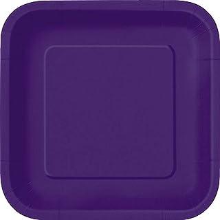 يونيك انداستريز، اطباق للكيك مربعة، 16 قطعة، ارجواني غامق