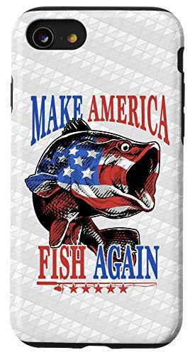 iPhone SE (2020) / 7 / 8 Make America Fish Great Fisherman American Flag USA Fishing Case