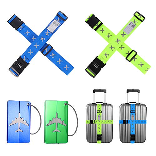 tonyg-p 4 PCS Luggage Straps + 2 PCS Luggage Tags Adjustable Suitcase Belts Stripe with 3-Digit Combination Coded Luggage Tags for Travel Security, Handbags, Luggage (Blue/Green)
