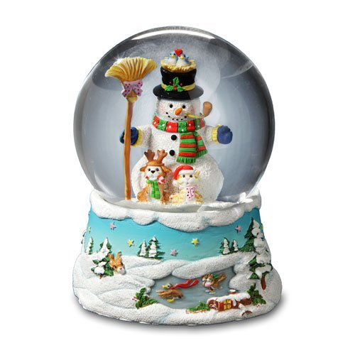 Image of Cheerful Musical Snowman Christmas Snow Globe