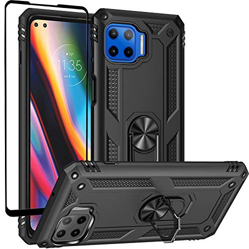Dretal Moto One 5G Case, Motorola One 5G with Tempered Glass Screen Protector, Military Grade Shockproof Protective Case Cover with Rotating Holder Kickstand for Motorola Moto One 5G(JS-Black)