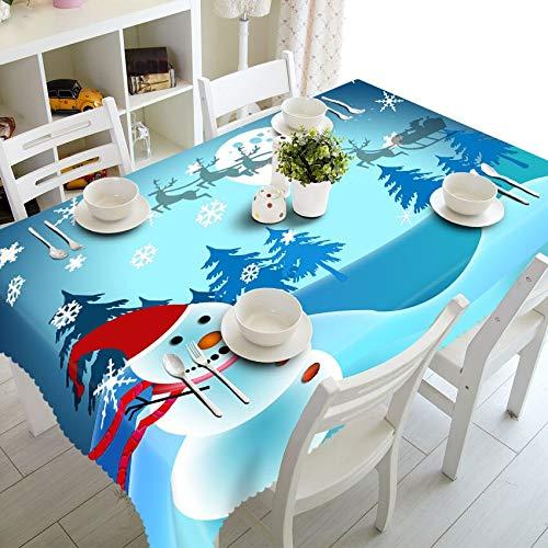XXDD Decoración del hogar Mantel 3D Lindo patrón de Tema de muñeco de Nieve algodón Lavable y Mantel Redondo de año Nuevo A11 135x160cm