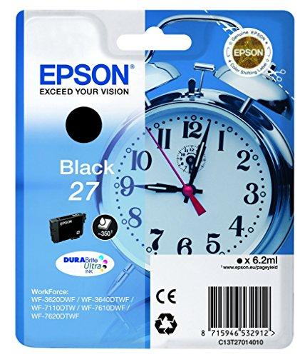 Epson C13T27014012 Wecker Nr.27 Serie Standard-Tintenpatrone, Schwarz, Original, Amazonas-Strichel Nachfüllbereit