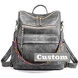 Claiyi Nombre Personalizado Vintage Mujeres Cuero Monedero Mochila Hombro Satchel Bag Black y (Color : Grey, Size : One Size)