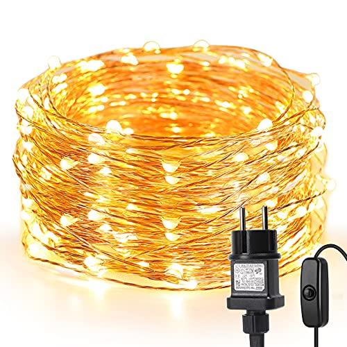 LE 10M LED Lichterkette Draht aus Kupferdraht, 100 LEDs, Wasserdicht IP65, Strombetrieben, ideal Stimmungslichter für Weihnachtsdeko Innen...