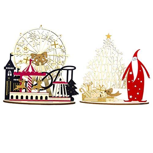 Holibanna 2 Pezzi Decorazioni per la tavola di Natale in Legno Ornamenti per Desktop di Natale centrotavola Decorazione (Ruota panoramica Trojan + Alce Santa)