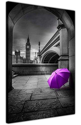 CANVAS IT UP Blanco y Negro Big Ben foto con paraguas de color ciudad impresiones cuadros en lienzo sala de estar, dormitorio, oficina 18mm de grosor, lona, Morado, 02- A3-16