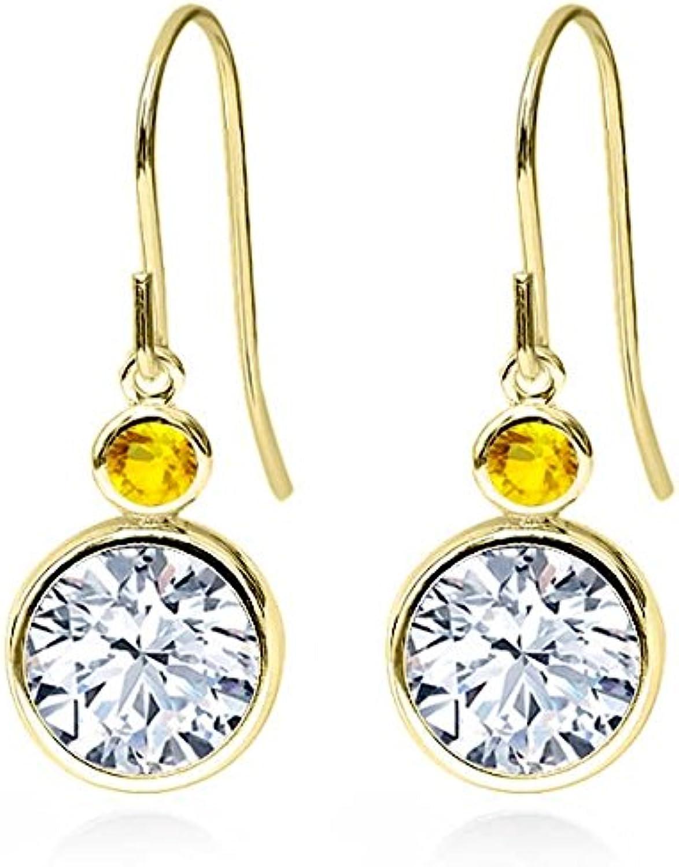 4.26 Ct Round White Zirconia Yellow Sapphire 14K Yellow gold Earrings
