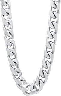 Verona Jewelers 925 Sterling Silver Solid 9MM Curb Cuban Link Chain Necklace for Men- Cuban Link Chain for Men, Thick Silver Necklace for Men