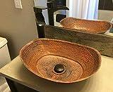 Copper Bathroom Sink Bathtub Design Vanity Renewal Hand Crafted Natural Firing Patina Wash Basin Bowl Bath Tub Canoe Boat Design Above Counter Installation Toilet Washroom Washbasin Bowl