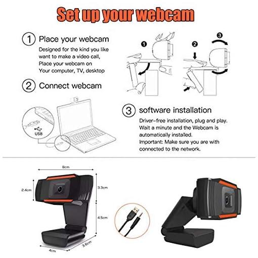 Webcam PC 1080P Full HD con Micrófono Estéreo, Portátil Cámara Web USB 2.0 Reducción de Ruido,Web CAM de Enfoque Fijo… 7