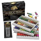Acrylic Paint Set - 72 x 21ml Tubes - 3 x Paint Brushes - Artist Quality Art Paints and Brushes - MyArtscape