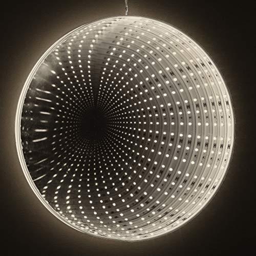 LED Nachtlicht Spiegel zum Hängen, Hellum Deko Lampe Warmweiß, Netzteil, Nachtlicht Baby & Kind, 3D Infinity Effekt, 576306