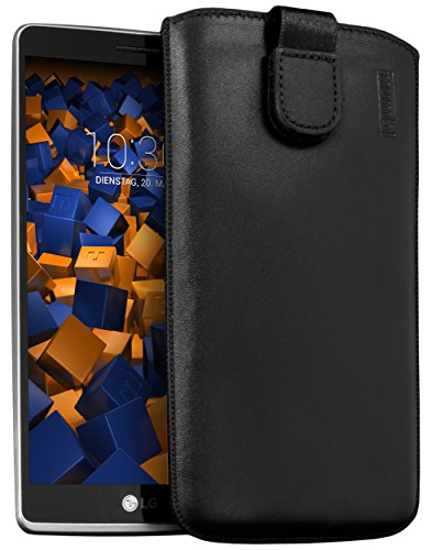 mumbi Echt Ledertasche kompatibel mit LG G4 Stylus Hülle Leder Tasche Hülle Wallet, schwarz