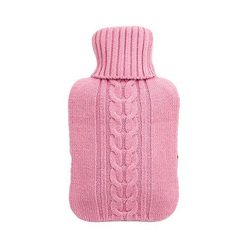 VORCOOL 2L cubierta hecha punto suave superior para la bolsa de la botella de agua caliente (rosa)