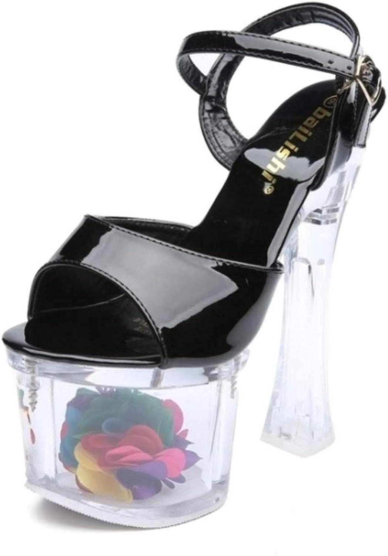 Damensandalen, Europa und die Vereinigten Staaten Sommer Thick Heels Stage Catwalk Künstliches PU-Material Super High Heel 18 cm (Farbe   SCHWARZ, gre   34)