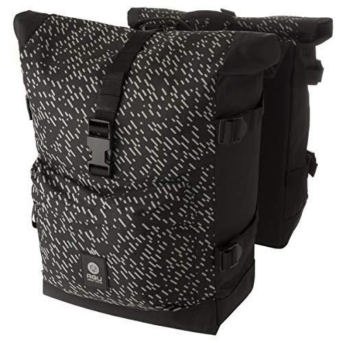 AGU Urban Trend H20 Rolltop Fahrradtasche | Doppel-Gepäckträgertasche mit Kompressionsriemen an den Seiten | Reflektoren | Wasserdicht | 28 Liter | Schwarz/Hivis