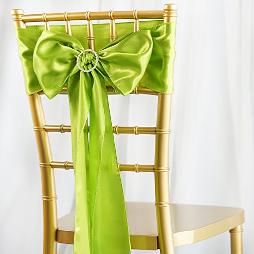 BalsaCircle 50 Sage Green Satin Chair Sashes Bows Ties for Wedding Party Ceremony Reception Event Decorations Supplies Cheap