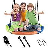 CAROMA Altalena da Giardino a Nido per Bambini e Adulti Nido Altalena Rotonda per Esterno e Interno Altezza Regolabile (100cm, Multicolore)