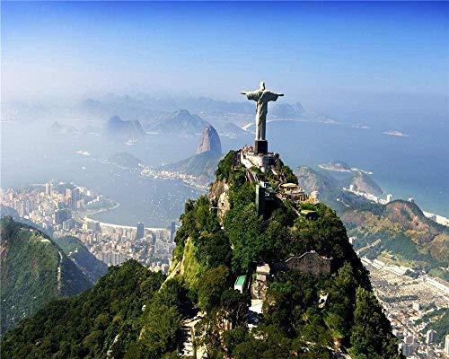 RHUAPuzzle per adulti in legno 1000 pezzi Brasile Statua Salvatore Home Art Deco Gioco Educativo
