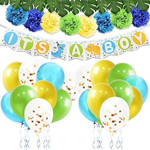 Decoracion Para Fiesta De Baby Shower.Wernnsai Decoracion De Fiesta Dinosaurio Suministros De Baby Shower Para Nino Incluyendo It S A Boy Pancartas Globos De Latex Pompones De Papel