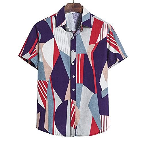 Hawaiana Camisa Hombre Moderna Holgada Cuello V Hombre T-Shirt Verano Cárdigan Vintage Estampado Hombre Manga...