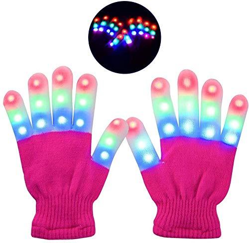 Oplichtende led-handschoenen knipperen handschoenen Kids Party voor verjaardag Kerstmis carnaval Sudaijins yellow