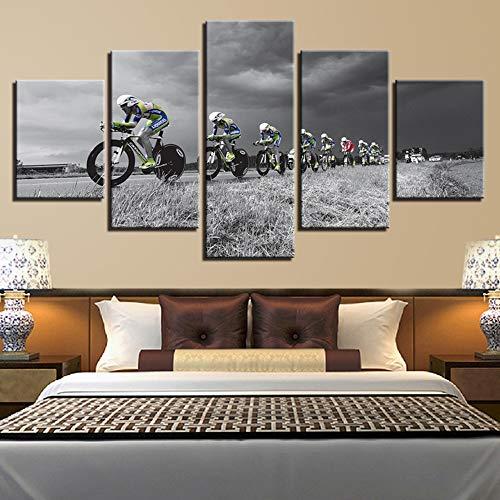 XLST Quadro su Tela HD Stampato Modern Living Room Painting 5 Panel Ciclismo Race Wall Art Poster Decorazione della casa Immagini modulari,B,10x15x2+10x20x2+10x25x1