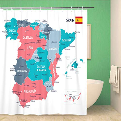 Awowee - Cortina de Ducha (180 x 180 cm, poliéster, Impermeable, con Ganchos), diseño de Mapa de España, Color Azul