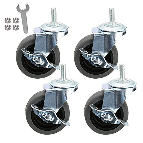 Caster Wheels, Casters, Set of 4, 3 Inch, Rubber, Heavy Duty, Threaded Stem Mount Industrial Castors, Locking Metal Swivel Wheel, Replacement For Carts, Furniture, Dolly, Workbench, Trolley