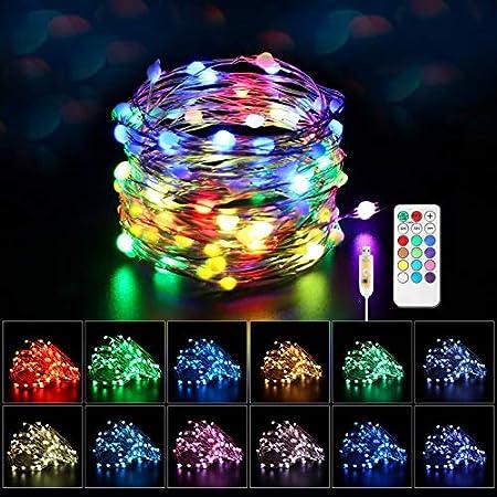 Maxsure Guirlande Lumineuse USB Multicolore 100 LEDs, Fairy Lights 12 Couleurs, Guirlande Lumineuse Exterieure/Interieur avec Telecommande, Décoration Luminaire pour Noel Jardin Mariage, IP44 Etanche