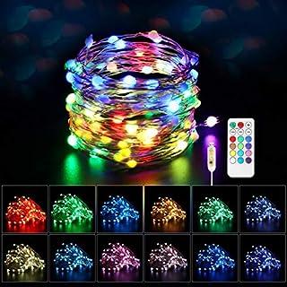 Maxsure Guirlande Lumineuse USB Multicolore 10M 100 LEDs, Fairy Lights 8 Modes et 12 Couleurs, Fils en Cuivre avec Télécom...