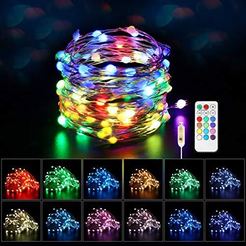Maxsure Guirnalda Luces USB, 10 Metros, 100 LEDs, Guirnalda luces Exterior con Control Remoto, 8 Modos, 12 Colores, Decoración para Navidad, Fiestas, Muebles, Plantas y etc. IP44 Impermeable