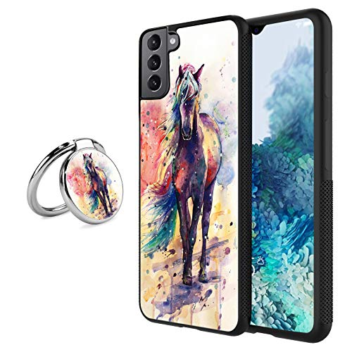 Black Samsung Galaxy S21 Plus Case with Ring Holder Stand Watercolor Horse Pattern 360 Rotation Ring Grip Kickstand Soft TPU and PC Anti-Slippery Design Protection Bumper for Samsung Galaxy S21 Plus