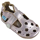 Sandales Fille - Chaussure Bebe Fille - Chausson Bebe Cuir Souple - Chaussures Enfants Filles - Sandale Petites Fleurs Dorées 0-6 Mois