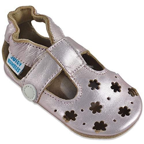 Baby Sandalen - Lauflernschuhe - Krabbelschuhe - Babyschuhe - Goldene Blumen 6-12 Monate (Größe 20/21)