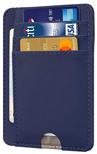 HOTCOOL Front Pocket Minimalist Leather With RFID Blocking Card Holder Wallet for Men & Women, Cross Navy Blue
