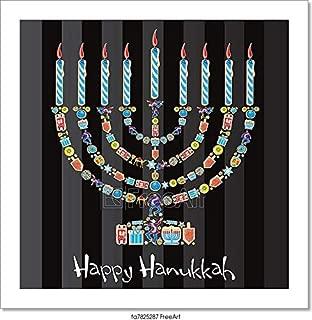 Barewalls Happy Hanukkah Cookie Menorah Paper Print Wall Art (8in. x 8in.)